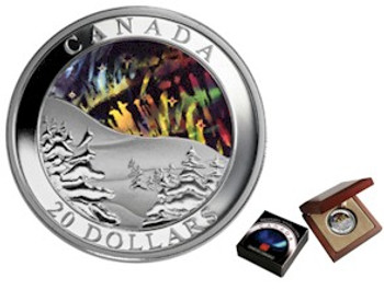 2004 $20 FINE SILVER COIN - AURORA BOREALIS (NORTHERN LIGHTS) HOLOGRAM
