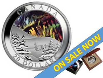 2004  $20 FINE SILVER COIN - AURORA BOREALIS (NORTHERN LIGHTS) - NO BOX