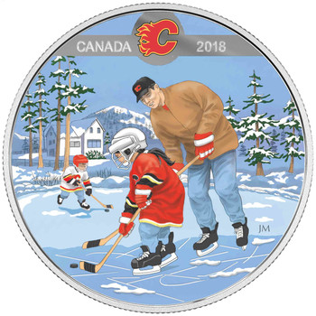 2018 $10 FINE SILVER COIN LEARNING TO PLAY: CALGARY FLAMES®