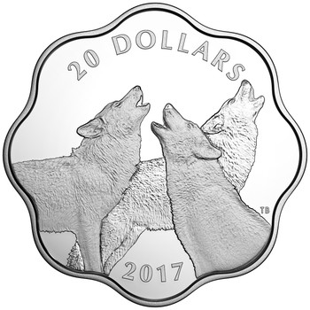 2017 $20 FINE SILVER COIN MASTER OF THE LAND: THE TIMBER WOLF