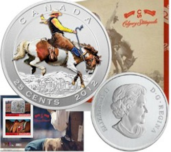 2012 25-CENT COLOURED COIN AND STAMP SET - 100 YEARS OF THE CALGARY STAMPEDE