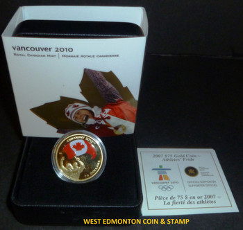 2007 OLYMPIC $75 14KT GOLD COIN - ATHLETE'S PRIDE
