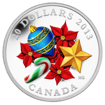 2013 $20 FINE SILVER COIN - CANDY CANE - VENETIAN GLASS