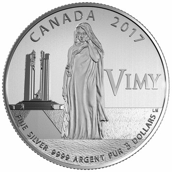 2017 $3 FINE SILVER COIN 100TH ANNIVERSARY OF THE BATTLE OF VIMY RIDGE