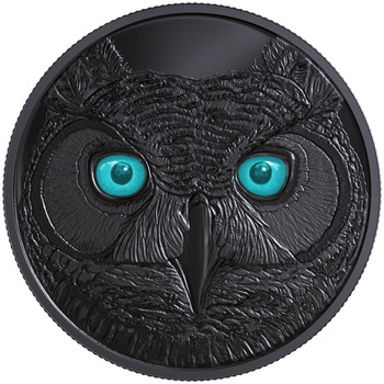 2017 $15 FINE SILVER COIN IN THE EYES OF THE GREAT HORNED OWL