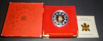 2001 $15 LUNAR SILVER & GOLD COIN - YEAR OF THE SNAKE