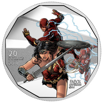 2018 $20 FINE SILVER COIN THE JUSTICE LEAGUE™ : THE FLASH AND WONDER WOMAN