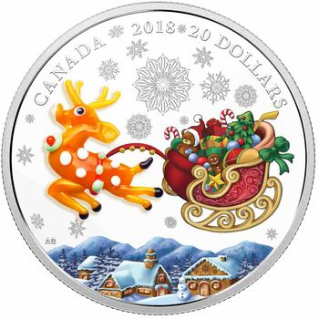 2018 $20 FINE SILVER COIN HOLIDAY REINDEER