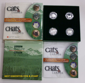 1999 50-CENT PROOF 4-COIN SET - CATS OF CANADA
