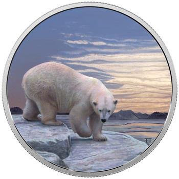 2018 $30 FINE SILVER COIN ARCTIC ANIMALS AND NORTHERN LIGHTS: POLAR BEAR