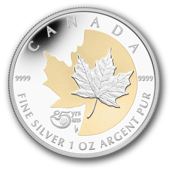 2013 $5 FINE SILVER & GOLD PLATED COIN 25TH ANNIVERSARY OF THE SILVER MAPLE LEAF