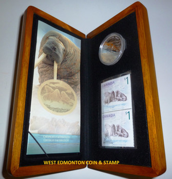 2005 $5 FINE SILVER COIN AND STAMP SET - WALRUS AND CALF