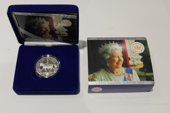2002 5 POUNDS FINE SILVER - HER MAJESTY THE QUEEN'S GOLDEN JUBILEE 1952-2002