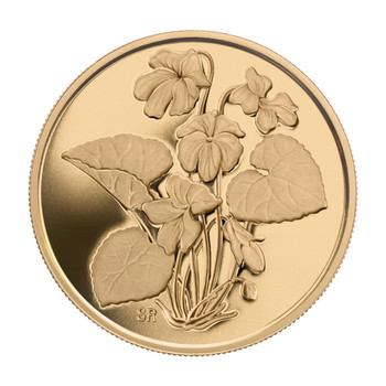 2007 $350 PURE GOLD COIN - PURPLE VIOLET (NEW BRUNSWICK'S PROVINCIAL FLOWER)