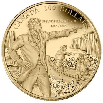 2008 $100 14-KARAT GOLD COIN - 200TH ANN. OF DESCENDING THE FRASER RIVER (1808-2008)