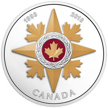 2018 $20 FINE SILVER COIN - CANADIAN HONOURS 25TH ANNIVERSARY OF THE STAR OF MILITARY VALOUR