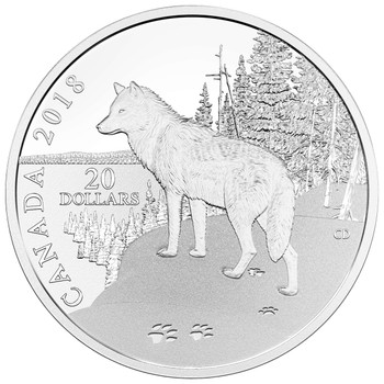 2018 $20 FINE SILVER COIN – NATURE'S IMPRESSIONS: WOLF
