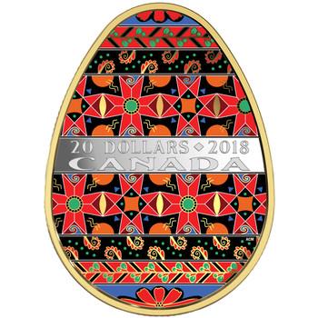 2018 $20 FINE SILVER COIN GOLDEN SPRING PYSANKA