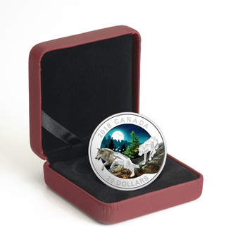 2018 $20 FINE SILVER COIN GEOMETRIC FAUNA SERIES: GREY WOLVES