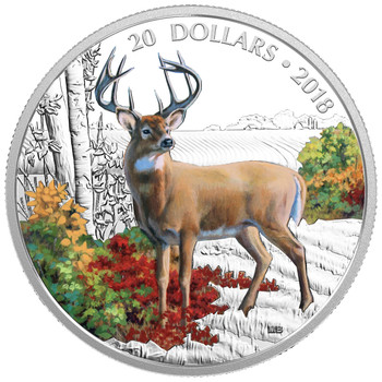 2018 $20 FINE SILVER COIN MAJESTIC WILDLIFE: WANDERING WHITE-TAILED DEER