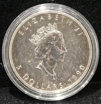 1oz. 1990 CANADIAN SILVER MAPLE LEAF COIN