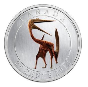 2013 25-CENT GLOW IN THE DARK COLOURED COIN - PREHISTORIC ANIMALS - QUETZALCOATLUS DINOSAUR