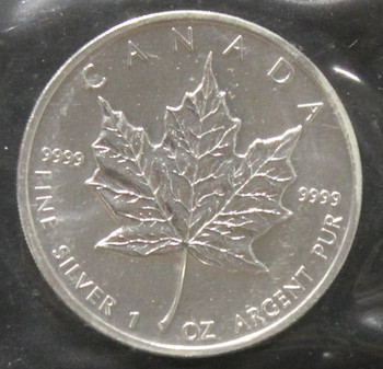 1oz. 2002 CANADIAN SILVER MAPLE LEAF COIN