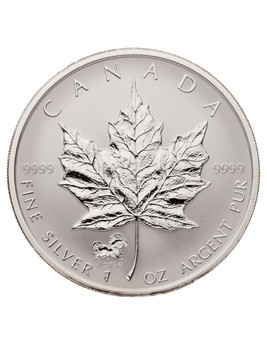 1oz. 2002 CANADIAN HORSE PRIVY MARK SILVER MAPLE LEAF COIN
