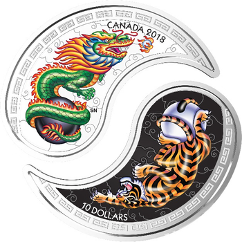 2018 $10 FINE SILVER COINS BLACK AND WHITE YIN AND YANG: TIGER AND DRAGON
