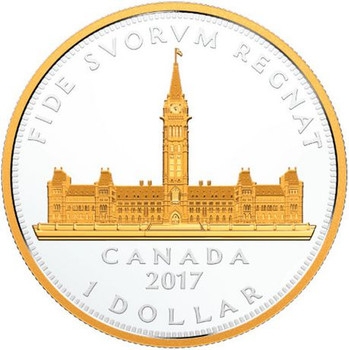 2017 $1 FINE SILVER COIN – RENEWED SILVER DOLLAR: COMMEMORATIVE ROYAL VISIT PARLIAMENT BUILDING