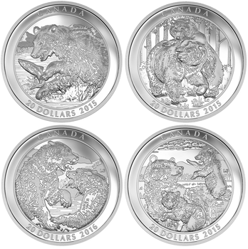 2016 GRIZZLY BEAR 4-COIN SET (4 X 1OZ. $20 FINE SILVER COINS)