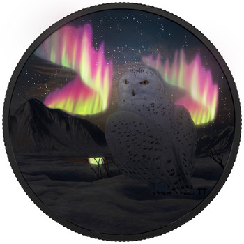 2018 $30 FINE SILVER COIN ARCTIC ANIMALS AND NORTHERN LIGHTS: SNOWY OWL