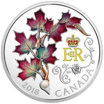 2018 $20 FINE SILVER COIN QUEEN ELIZABETH II's MAPLE LEAVES BROOCH
