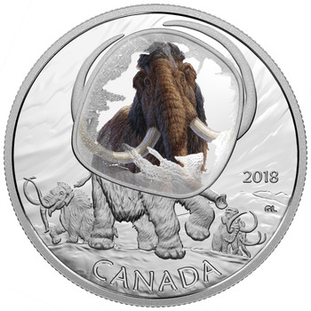 2018 $20 FINE SILVER COIN FROZEN IN ICE – WOOLLY MAMMOTH