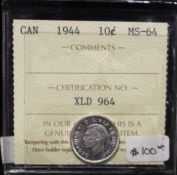 1944 CANADIAN 10-CENT ICCS  MS-64