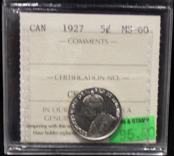1927 CANADIAN 5-CENT ICCS MS-60