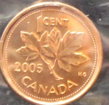2005P CANADIAN 1-CENT ICCS MS-67 (RED)