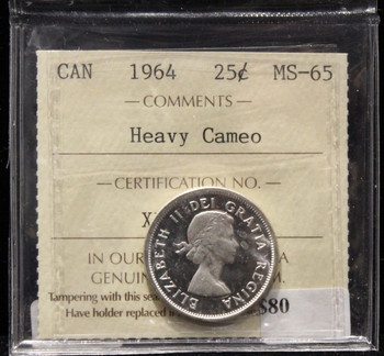 1964 CANADIAN 25-CENT ICCS MS-65 (HEAVY CAMEO)