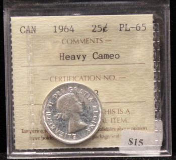 1964 CANADIAN 25-CENT ICCS PL - 65 (HEAVY CAMEO)