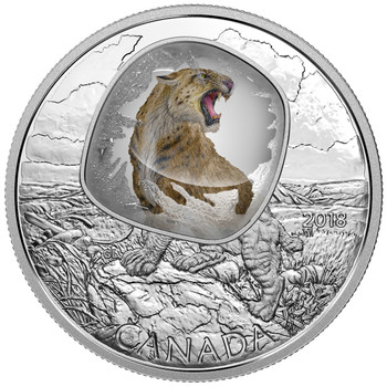 2018 $20 FINE SILVER COIN FROZEN IN ICE: SCIMITAR SABRETOOTH CAT