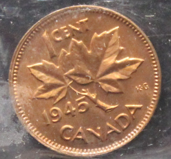 1945  CANADIAN ONE CENT ICCS MS-64 (RED)
