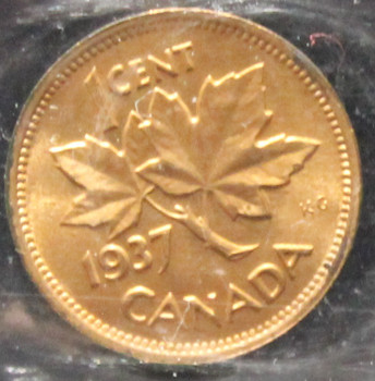 1937  CANADIAN ONE CENT ICCS MS-64 (RED)