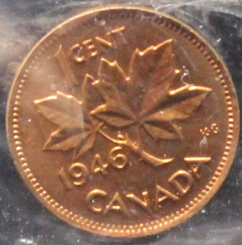 1946 CANADIAN ONE CENT ICCS MS-64 (RED)