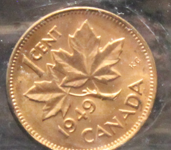 1949 CANADIAN ONE CENT ICCS MS - 64 (A OFF DENT.; RED)