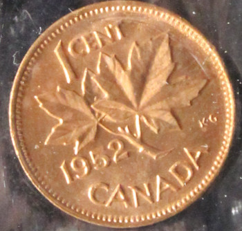 1952 CANADIAN ONE CENT ICCS MS - 64 (RED)