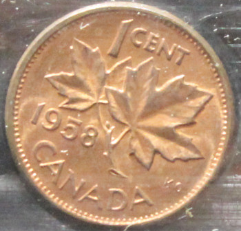 1958 CANADIAN ONE CENT ICCS MS - 64 (RED)