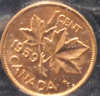 1959 CANADIAN ONE CENT ICCS MS - 65 (RED)