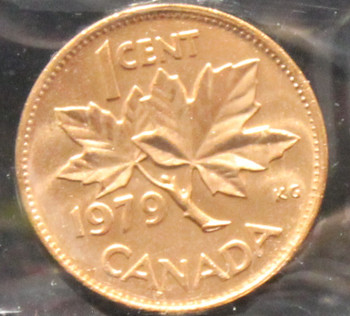 1979 CANADIAN ONE CENT ICCS MS - 66 (DOUBLE 79, RED)