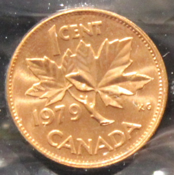 1979 CANADIAN ONE CENT ICCS MS - 66 (DOUBLE 9, RED)