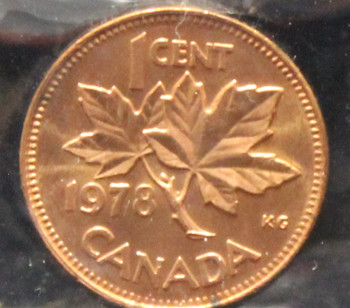 1978 CANADIAN ONE CENT ICCS MS - 65 (RED)